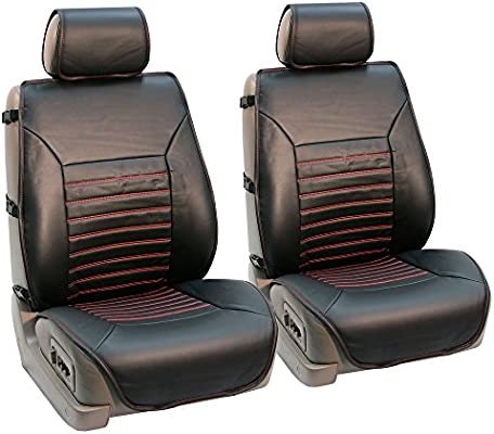 """Car Seat Covers 2 Front 15/"""" SW PU Leather Compatible to Jeep 853 Bk//Silver"""