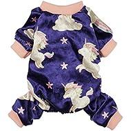 Fitwarm Fairy Unicorn Dog Pajamas Pet Clothes Jumpsuit PJS Apparel Soft Velvet Purple Small