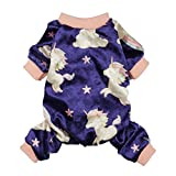 Fitwarm Fairy Unicorn Dog Pajamas Pet Clothes Jumpsuit PJS Apparel Soft Velvet Purple Medium