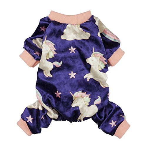 Fitwarm Fairy Unicorn Dog Pajamas Pet Clothes Jumpsuit PJS Apparel Soft Velvet Purple Chihuahua Pomeranian XXL