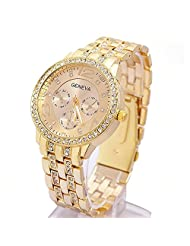 Happy Hours - Bling Crystal Rhinestone Unisex Quartz Leisure Wrist Watch / Luxury Geneva Alloy Band Classic Round Leisure Watches with a Button Battery(Gold)