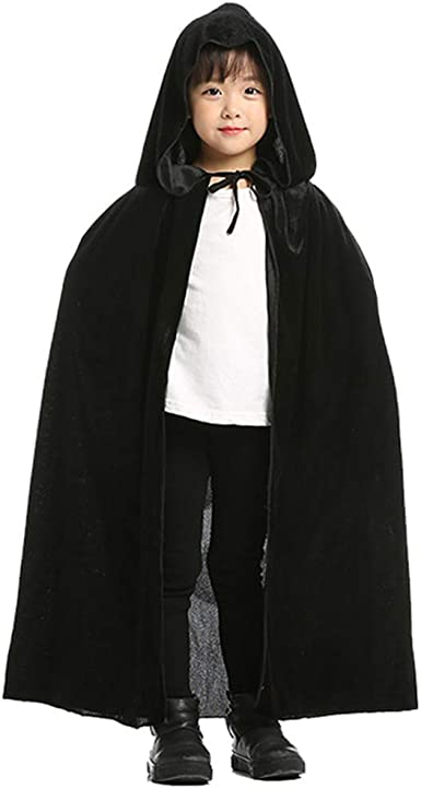 Unisex Kids Cloak Hooded Velvet Cape Medieval Costume Halloween Fancy Dress W