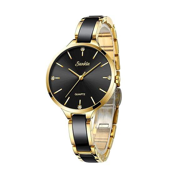 Relojes de Mujer SUNKTA,Cuarzo de Cerámica Impermeable de Acero Inoxidable Reloj de Pulsera …