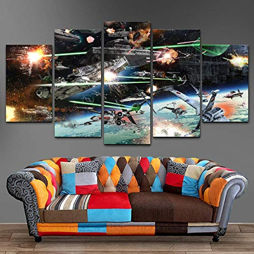 sansiwu Hd Canvas Printed Painting 5 Piece Wall Art Star Wars Space Battle Home Decor Poster Picture for Living Room Frame (Star Wars Battle 5 Piece Canvas Painting)