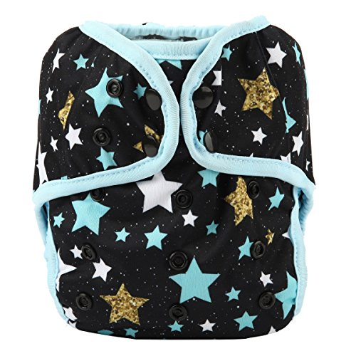 One Size Cloth Diaper Cover Snap with Double Gusset (Blue Star)