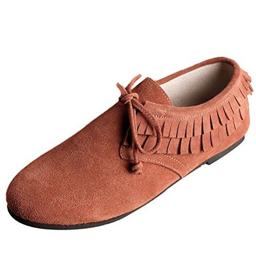 Vogstyle Damen Tassel Dekoration Leder Schuhe Lace up Braun