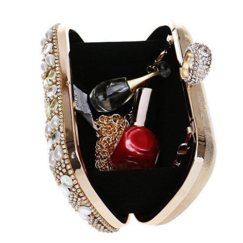 Embrayage Soirée De Sac Banquet Sac Épaule Sac Mode De À Main Mariée Bandoulière Robe À Sac Or Mini Dîner Perle 6nx45pzZz