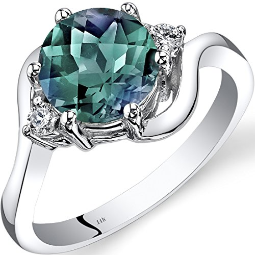 14K White Gold Created Alexandrite Diamond 3 Stone Ring 2.25 Carat (2.25 Ct 3 Stone)