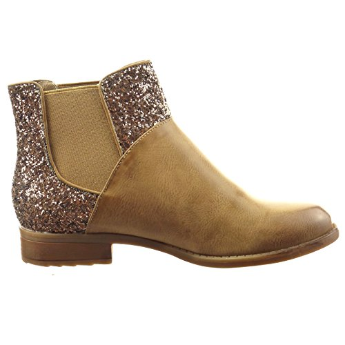 Sopily - damen Mode Schuhe Stiefeletten Chelsea Boots Reitstiefel - Kavalier glänzende glitzer - Khaki