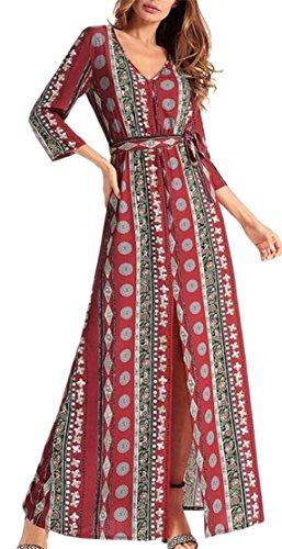Jaycargogo Mode Des Femmes V-cou Manches 3/4 Imprimé Ethnique Robe Fendue 2