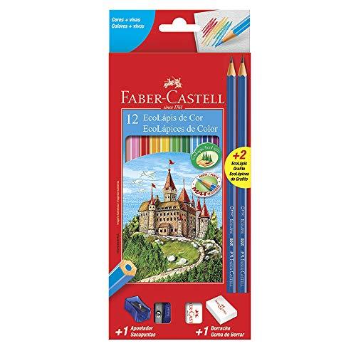 Kit Escolar Lápis de Cor EcoLápis, 2 Lápis Max, 1 Apontador Simples e 1 Borracha, Faber-Castell, 12 Cores