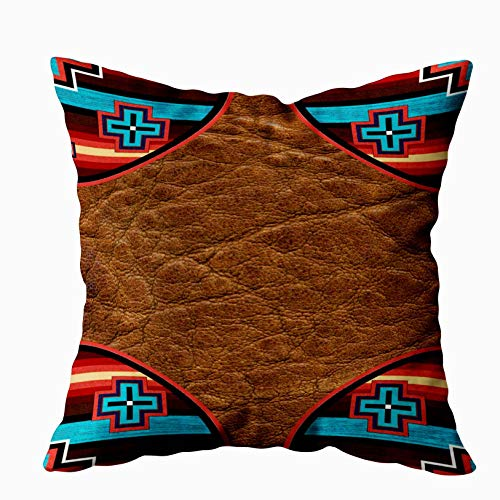 EMMTEEY Home Pillowcase Cushion Cover,Tribal Print Southwest Western Trim 7000 Outdoor Decorative Square Accent Zippered and Double Sided Printing Pillow Case Covers 16X16Inch (16X16, Multi 1) (Pillows Batik Outdoor)