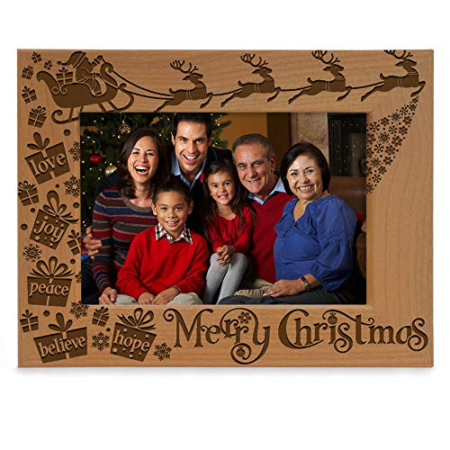 KATE POSH Merry Christmas Love Peace Joy Believe Hope, The Magic of Christmas Family Picture Frame. Santa, Reindeer and Sleigh Decor. Engraved Natural Wood Photo Frame (5x7-Horizontal) (Christmas Of Photo)