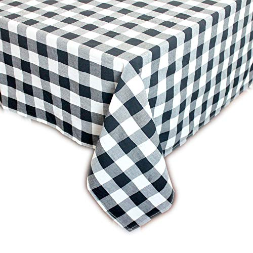 Buffalo Plaid Check Rectangular Tablecloth for Thanksgiving, Christmas, Family Dinner or Gathering, Party, Picnic, Buffet, Wedding (60x84, Black & White) ()