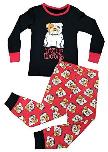 (Best Pug Dog Black Red 4TPajamasfor Little Boys Snug Fit Small Costume Cute Cozy Cotton Comfy Winter Bottom Top Set PJ Easter Basket Stuffer Gift Idea Sale Kids Youth (Dog, 4T))