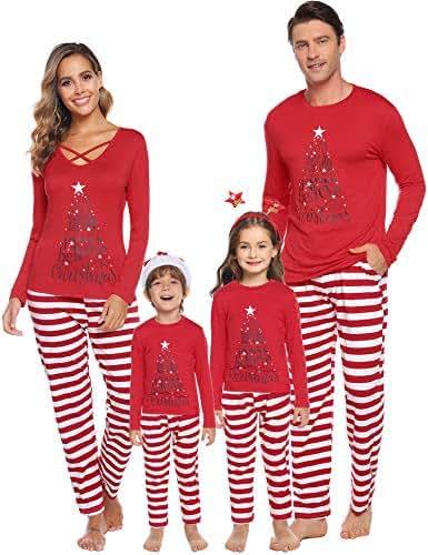 Sykooria Christmas Family Matching Pajamas Mom Dad Kids Xmas Striped Drawstring Sleepwear Pockets Pj Sets