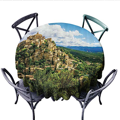 Wanderlust Decor Collection Dinner Picnic Table Cloth Masks for Carnival Fancy Dress Centuries-Old Tradition Venice Design Round Wrinkle Resistant Tablecloth (Round, 54 Inch, Green Ivory Blue) ()
