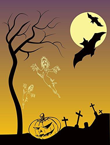 Gifts Delight Laminated 24x32 inches Poster: Bats Dead Gravestones Graveyard Halloween Landscape Moon Pumpkin Scene Silhouette Spirits Tree]()