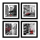 SUNFROWER ART City Wall Art - Black White Cityscape Canvas Print Wall Art - Paris Eiffel Tower - London Double Decker Buss Classic Red Car Home Office Decor (24x24inchx4, Black Picture Frame)