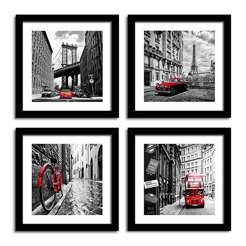 City Canvas Prints Wall Decor Art Home Decorations Black Photos Framed and White with Red Modern Artwork Eiffel Tower Paris Pictures for Office Kitchen Bathroom Set of 4 Piece 20