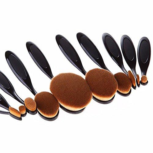 Beauty Kate Oval Makeup Brush Set of 10pcs Super Soft Professional Tooth-brush (Black) - Contour Blush Concealer Powder Blending Eyeliner Face Oval Foundation Brush Makeup Cosmetics Brushes Tool Set