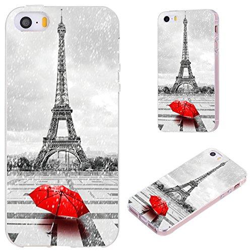 iPhone SE Case,iPhone 5S Case,iPhone 5 Case,VoMotec [Original series] Anti-scratch Slim Flexible Soft TPU Protective Skin Cover Case For iPhone 5 5S SE,Paris Eiffel tower in the rain with red umbrella