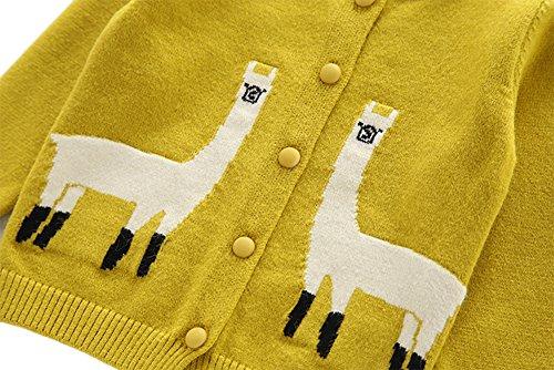 Moonnut Girls Cardigan Sweaters Cute Alpaca Pattern Long Sleeve Knitted Outwear