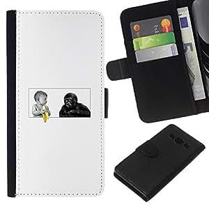 Samsung Galaxy A3 - Dibujo PU billetera de cuero Funda Case Caso de la piel de la bolsa protectora Para (Funny Baby - Banana And Gorilla Monkey)