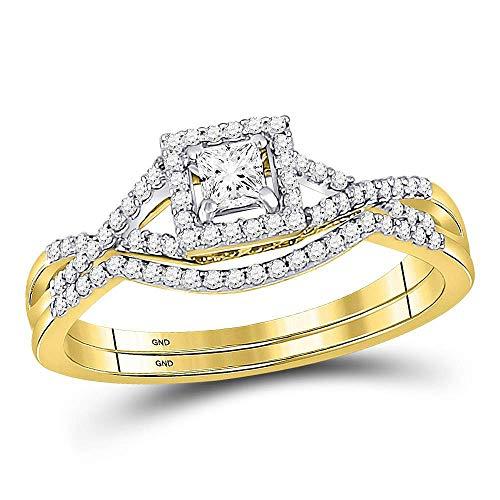 Mia Diamonds 14kt Yellow Gold Womens Princess Diamond Bridal Wedding Engagement Ring Band Set (.34cttw) (I1)- Size -6