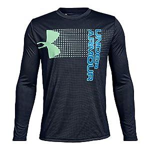 Under Armour Boys Crossfade Long sleeve Shirts, Academy (409)/Blue Circuit, Youth X-Small