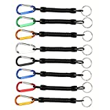 Shelure Black Fishing Lanyard Accessories Plastic Retractable Coiled Tether with Carabiner for Pliers Lip Grips Tackle Fish Tools (Pack of 8)