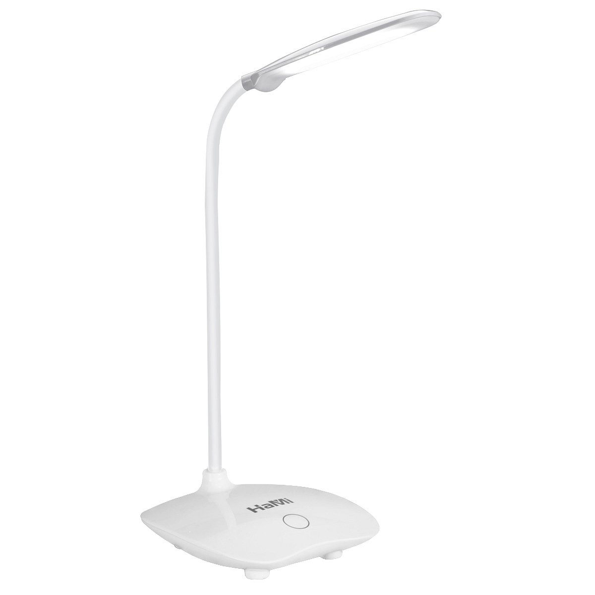 HaMi 5W 18LED Desk Lamp,Eye-Care Dimmable Table Light Lamp with 3 Level Dimmer Touch Control, Adjustable Gooseneck Lamp for Studying, Reading, Working,Camping - White