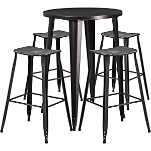 Brimmes 5-pcs Table Set Round 30'' Black-Antique Gold w/4 Distressed Stools