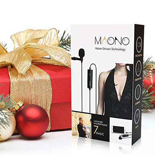 Lavalier Microphone, MAONO AU100 Hands Free Clip-on Lapel Mic with Omnidirectional Condenser for Podcast, Recording, DSLR,Camera,iPhone,Android,Samsung,Sony,PC,Laptop (236 in) by MAONO (Image #1)
