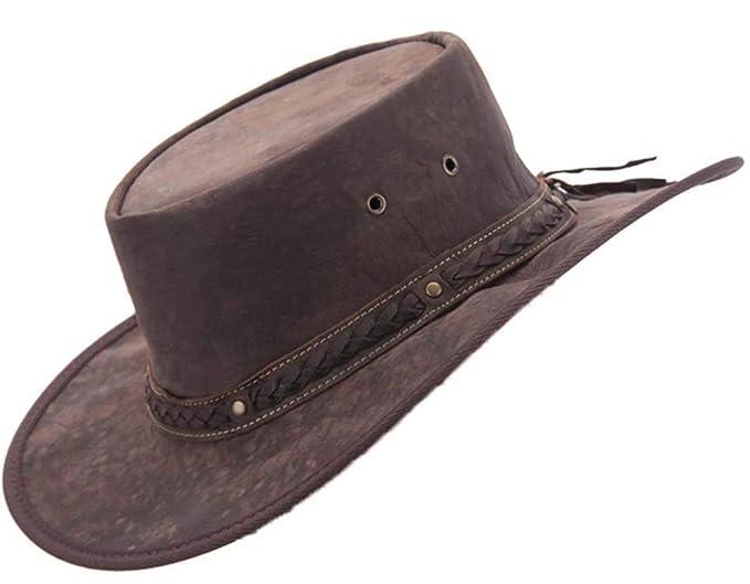 2d6b15503f37b Barmah Real Kangaroo Leather Hat Made in Australia Brown: Amazon.co ...