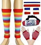 Women 80s Set Neon Knit Headband Wristbands Leg Warmers (Red/White/Blue)