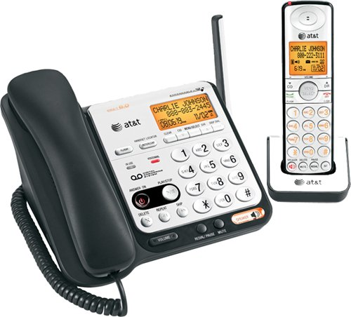 AT& T DECT 6.0 Black/Silver Digital Corded/Cordless Answering System (CL84109) Vtech
