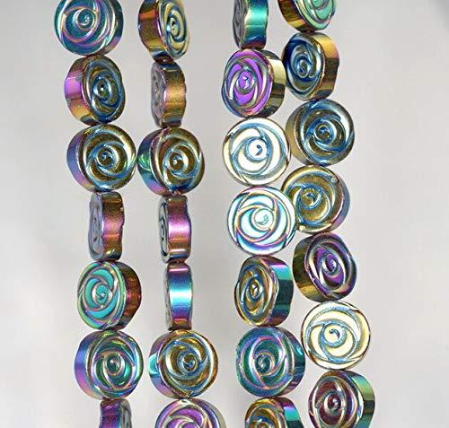10MM Titanium Rainbow Hematite Gemstone Rose Flower Carved 10MM Loose Beads 16
