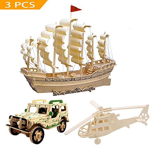 , Mini Ship Boat Model Puzzle Build Car Fighter Plane Model Kit Toy Best Gift for Adult and Children, 3 Set (Ship Model Boat)