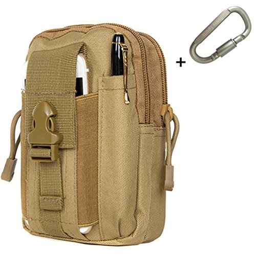 Swesy Universal Outdoor Tactical Pouch Holster Military Molle EDC Security Pack Multi-Purpose Tool Holder Belt Hip Waist Bag Gadget Money Pocket with Cell Phone Holster Holder (Khaki)