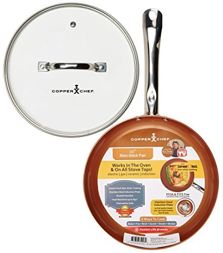 Copper Chef 10 Inch Round Frying Pan With Lid -Skillet with Ceramic Non Stick Coating. Perfect CookwareForSaute And Grill (Chefs Ceramic Nonstick Frypan)