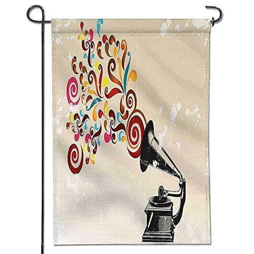 Garden Flag/Double-sided,Music Decor Vintage Vinyl Record