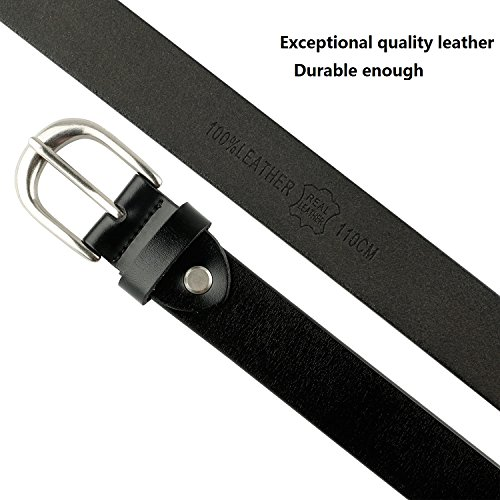 Western Design Genuine Leather Belt for Women with Classic Polished Alloy Buckle by JASGOOD