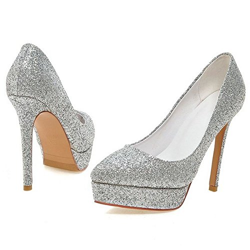 Women Catwalk High Paillette LongFengMa Heeled Pumps Shoes Thin Sexy Fashion Platform Heel Footwear Spring Silver Shoes Quality H1FFqBSd