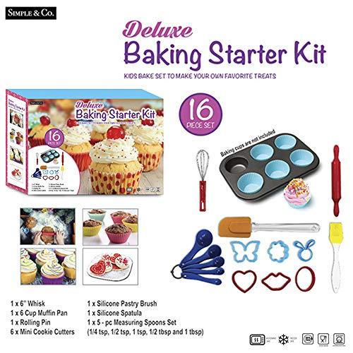 [해외]어린이 및 초보자용 디럭스 주방 베이킹 스타터 키트 (16개) / Deluxe Kitchen Baking Starter Kit For Kids & Beginners (16 Pcs)
