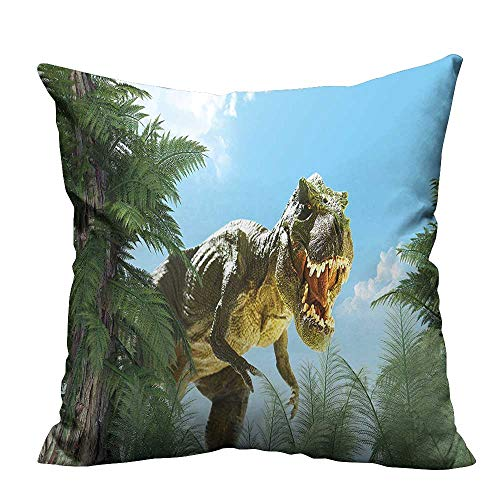 YouXianHome Throw Pillow Cover for Sofa in Jurassic Ster Fossil Digital Sky Blue Fern Green Textile Crafts (Double-Sided Printing) 19.5x60 inch ()