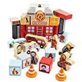 Wooden Wonders Elm Street Fire Station Blocks Playset...