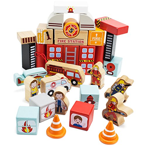 - Wooden Wonders Elm Street Fire Station Blocks Playset (31pcs.) by Imagination Generation