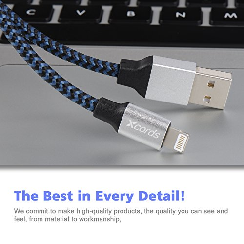 Xcords(TM) 3Pack 10Ft Nylon Braided 8 Pin Lightning to USB Cable Data Syncing Cord Compatible with iPhone 7/ 7 Plus/6/ 6 Plus/ 6s/ 6s Plus /5/5s/5c/SE/iPad/iPod/Beats Pill+(Dark Blue) by Xcords (Image #3)