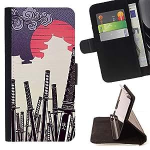 Momo Phone Case / Flip Funda de Cuero Case Cover - JAPONESA DEL SAMURAI KATANA CEMENTERIO - LG G4c Curve H522Y (G4 MINI), NOT FOR LG G4